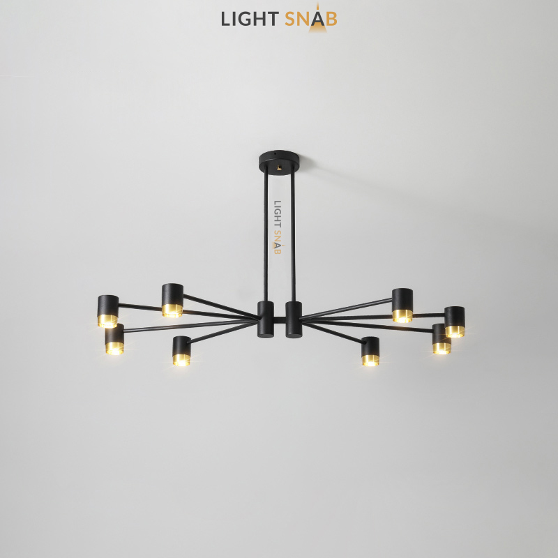 Люстра Ragna 8 ламп. Цвет черный + золото
