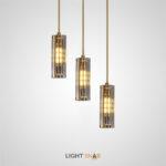 Дизайнерский светильник Reach с цилиндрическим граненым плафоном из янтарного хрусталя