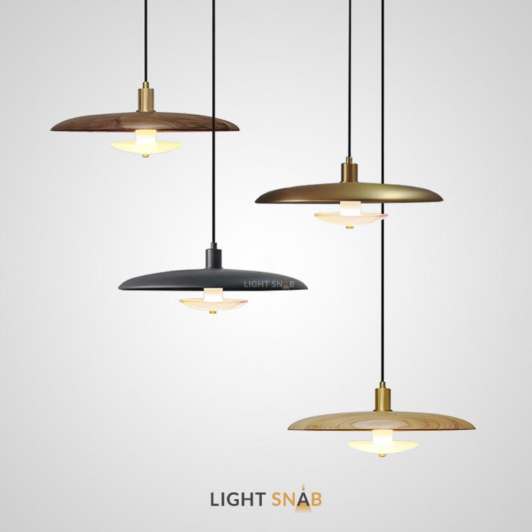 Подвесной светильник Reason с абажуром из пород натурального дерева и фактурным мраморным рассеивателем