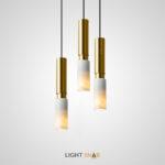 Подвесной светильник Return с двойным цилиндрический плафоном из металла и мрамора