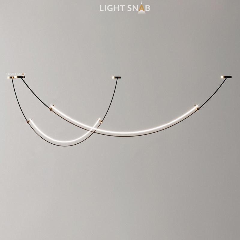 Подвесной светильник Rilda  в виде вытянутых дугообразных светодиодных панелей на черных тросах