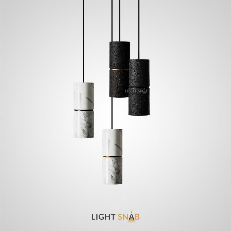 Подвесной светильник Rogerd с сегментированным цилиндрическим плафоном из белого мрамора или черного камня