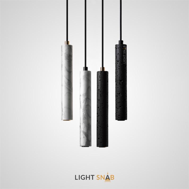 Подвесной светильник Rogerd Leng с вытянутым цилиндрическим плафоном из белого мрамора или черного камня