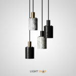 Подвесной светильник Rogerd Small с цилиндрическим плафоном из белого мрамора или черного камня