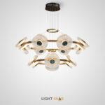Светодиодная люстра Rosemary с хрустальными плафонами дисковидной формы с перламутровыми вставками