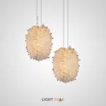Подвесной светодиодный светильник Roslyn с эллиптическим плафоном из натуральных хрустальных камней