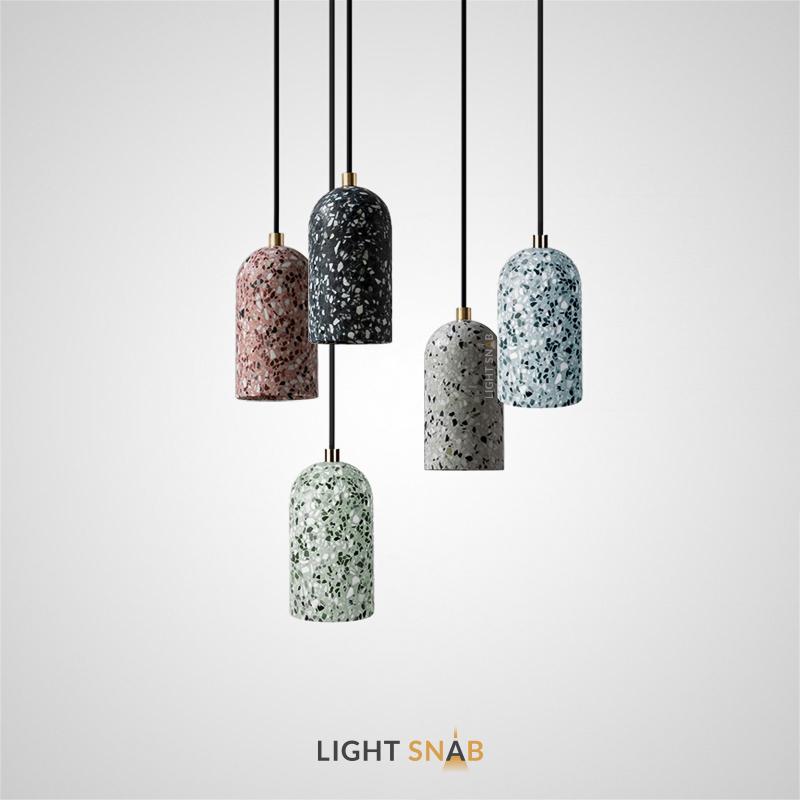Подвесной светильник Runel с цилиндрическим плафоном из цветного мрамора терраццо