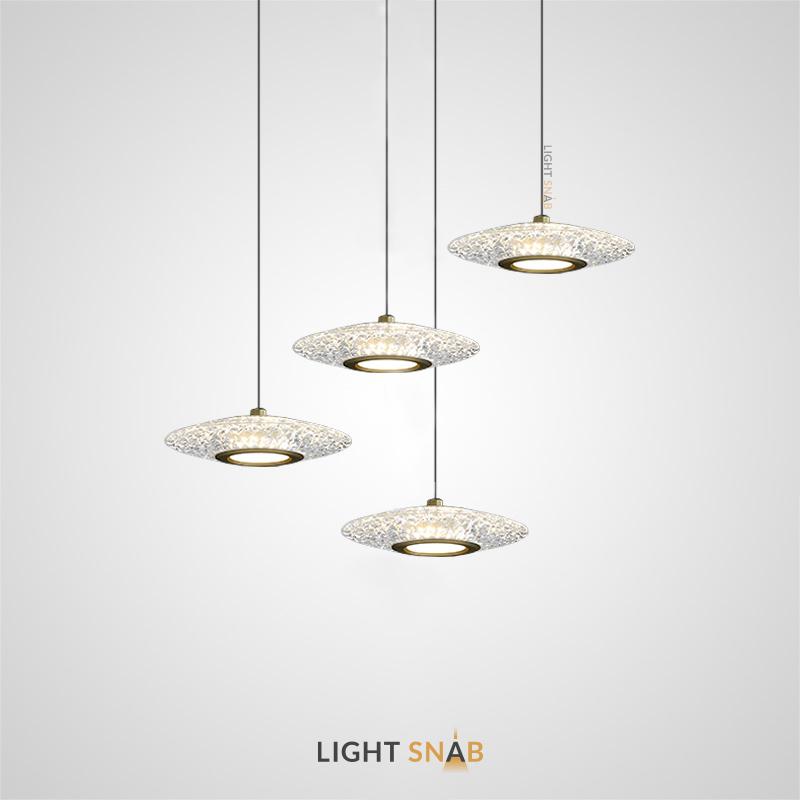 Подвесной светодиодный светильник Sevalda с рельефным плафоном эллиптической формы