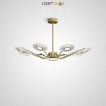 Светодиодная люстра Sevalda Ch на лучевом каркасе с рельефными плафонами эллиптической формы со светящимся центром