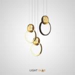 Дизайнерский подвесной светильник Sight в виде светодиодного кольца с декоративным металлическим шаром