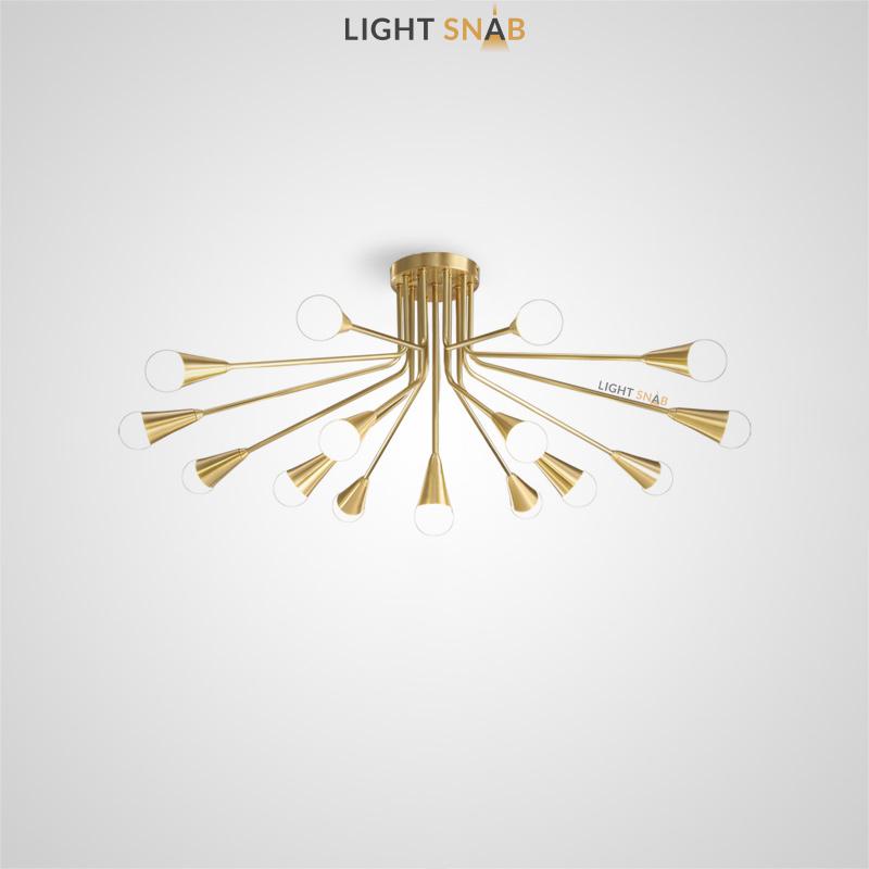 Дизайнерская люстра Single с шарообразными стеклянными плафонами на латунном лучевом каркасе