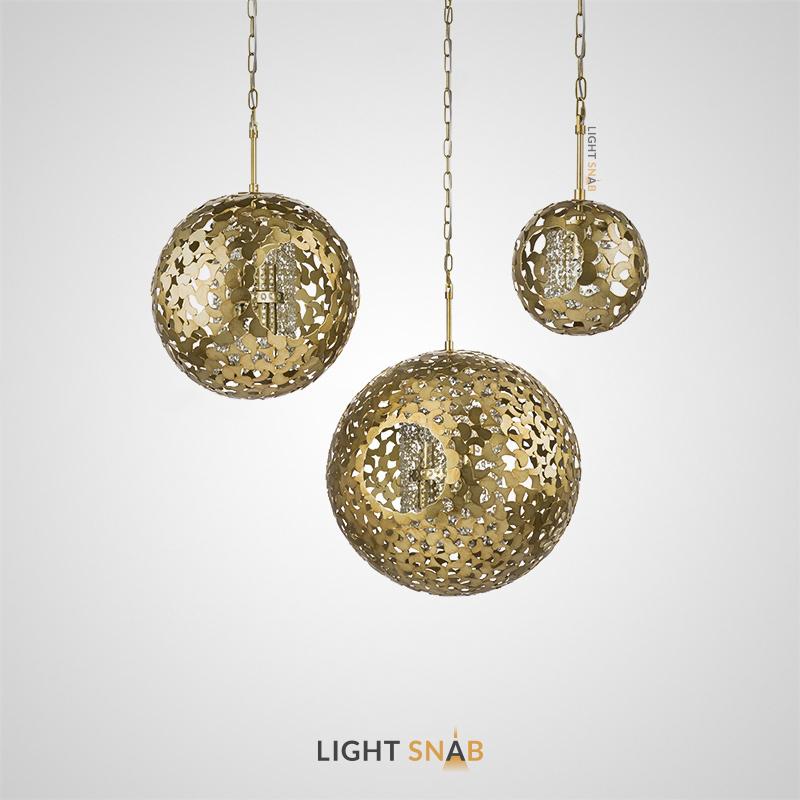 Дизайнерский подвесной светильник Sizgarin с хрустальными подвесками внутри шарообразного плафона из пластин в цвете античной латуни