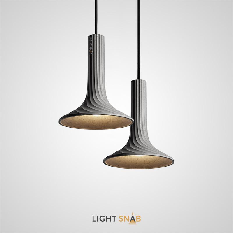 Дизайнерский подвесной светильник Sound с рельефным плафоном из бетона конусообразной формы
