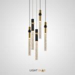 Подвесной светильник Spree с цилиндрическим плафоном из хрусталя с эффектом воздушных пузырьков на вертикальной стойке с металлическим шаром