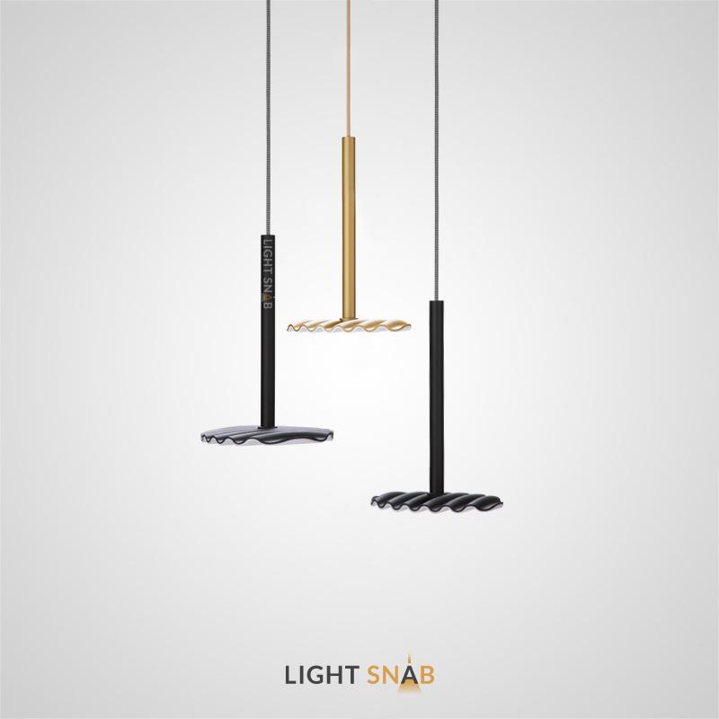 Подвесной светодиодный светильник Tobby с плоским плафоном в виде рифленого диска на вертикальной стойке
