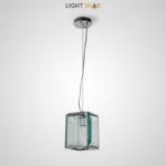 Подвесной светильник Umeo из стеклянных пластин с огранкой на объемном каркасе кубической формы