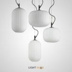Подвесной светильник Urs One  с цилиндрическим ребристым плафоном разной формы из белого матового стекла