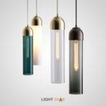 Подвесной светильник Vian B с длинным стеклянным плафоном