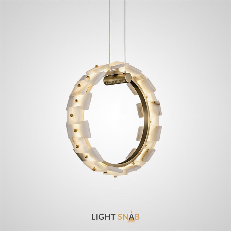 Подвесной светодиодный светильник Vigga с плафоном из мраморных пластин прямоугольной формы на вертикальной кольцевом каркасе